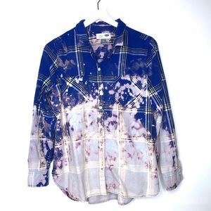 Plaid Acid Wash Hand Bleach Splatter Button Down